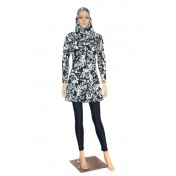 2 PIECES MUSLIMAH SWIMWEAR-FLOWER PRINT-BLACK/WHITE